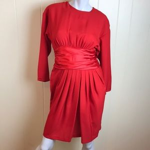 Vintage 80s/90s Red Party Dress w/ Pleated Skirt